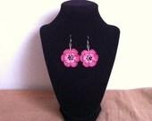 Crochet Flower earrings, crochet pink lace earrings, bead flower earrings