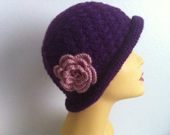 Women's Hat, Purple Cloche Hat With Rose Flower