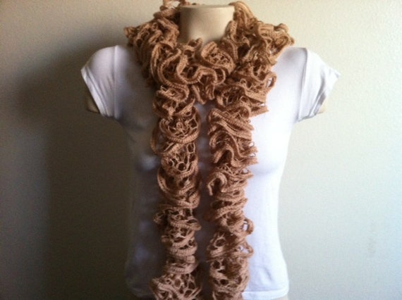 Pretty Ruffle Scarf, Hand Knit Soft Frilly scarf, lace scarf, Women Fasions,  Usa Seller