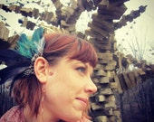 Feather Ear Cuff in Purple and Teal Peacock Feathers Tribal Copper