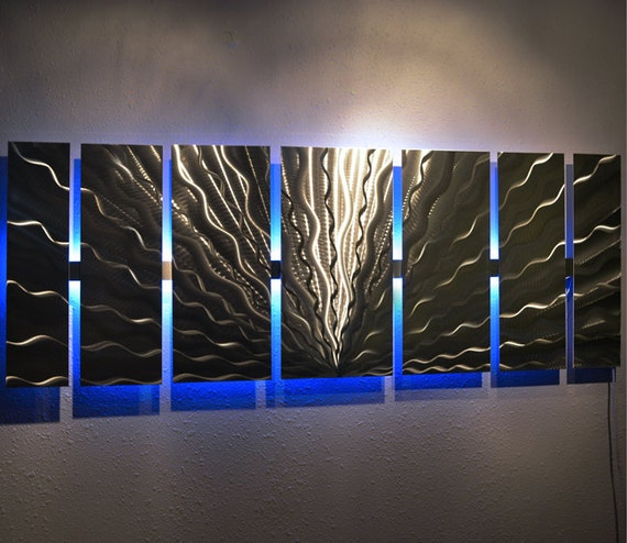 Lights For Wall Decor : Modern large abstract metal wall art color changing led