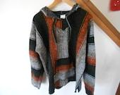 90s Mexican striped boho hoodie woven blanket sweatshirt Poncho Unisex M L xl