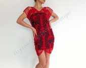 Crochet summer Beach Dress tunic  in Red Holiday Fashion cover-up