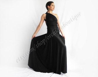 black Maxi Dress ORCHIDEA Convertible Infinity Wrap Chameleon Maxi Dress bridesmaid formal prom maternity plus size 3xl 4xl 5xl evening