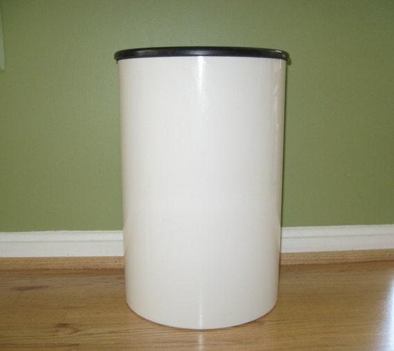 Vtg Kartell Cylinder Waste Basket Trash Can W Liner Holder