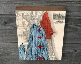 Chicago John Hancock Center Chicago Water Tower map background Wood Block art print 9x12""