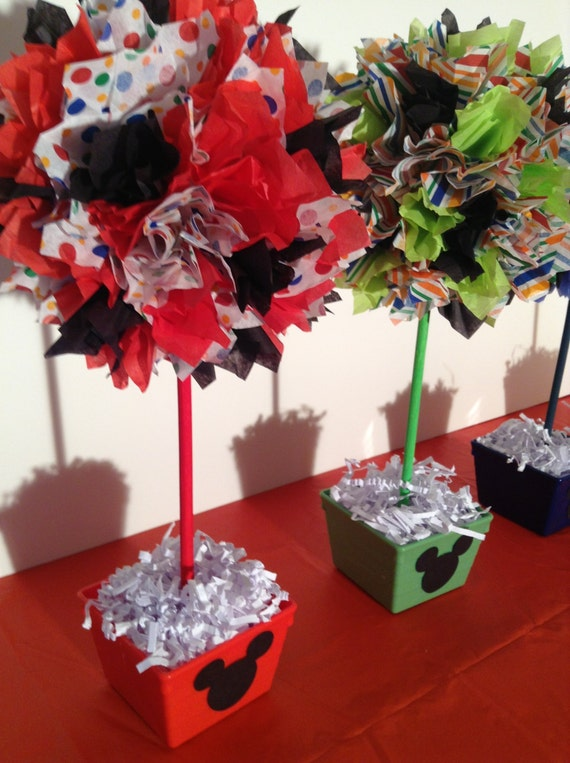 Mickey Mouse birthday party decorations, Mickey Mouse centerpiece, set of four