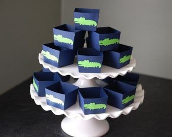 Alligator Candy Cups, Alligator Theme, Alligator Baby Shower, Alligator Birthday, 12 Pcs, Navy Cup