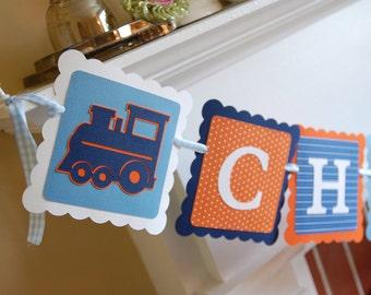Choo Choo I'm 2 Banner, Train Birthday, Train Birthday, Train Banner, Navy, Orange White