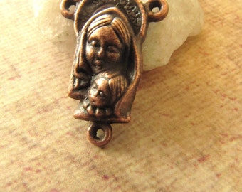 Antique Copper Mother and Child Rosary Centerpiece