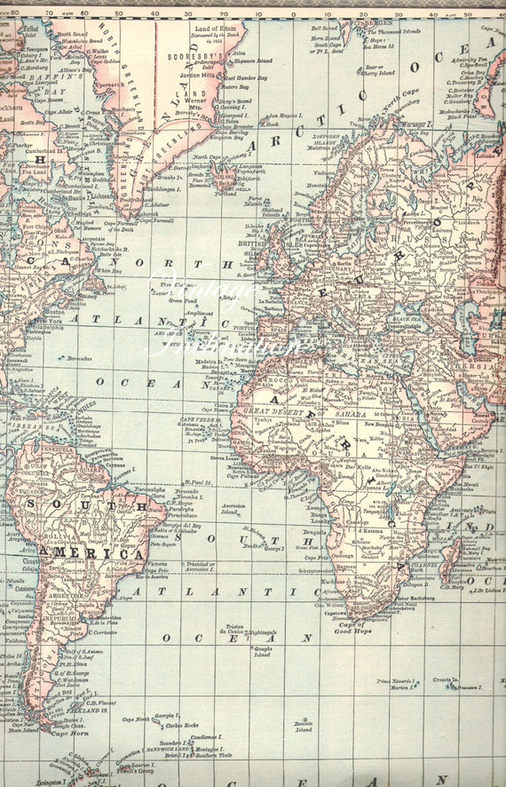 X LARGE Antique 1887 WORLD Vintage World Map by VintageInclination