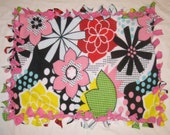 Fleece Tie Pet Blanket for Cats or Small Dogs - Colorful Comic Floral on Pink