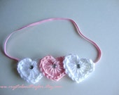 Valentine Headband with Light Pink and White Hearts - Perfect for Photos - Newborn, Baby, and Toddler Sizes Available