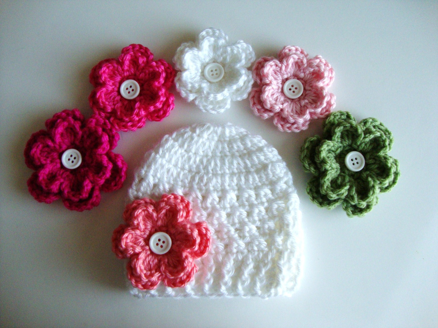 Crochet Hat Patterns Flowers : Baby Girl Crochet Flower Hat Pattern Preemie up to 12 months