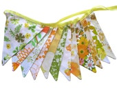 Vintage Bunting - Retro SUMMER CITRUS Multi Orange Yellow Green - Floral Flags.  Handmade . Shabby Chic Market Stall / ShopDecoration.