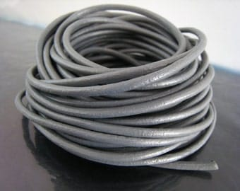 1 Yard of 3.5mm Grey Round Leather Cord