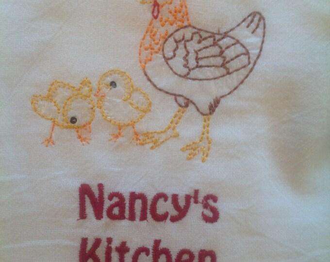 Personalized, Flour Sack Towel, Farm House Decor, Chickens, Kitchen towel, large dish towel, Kitchen Decor
