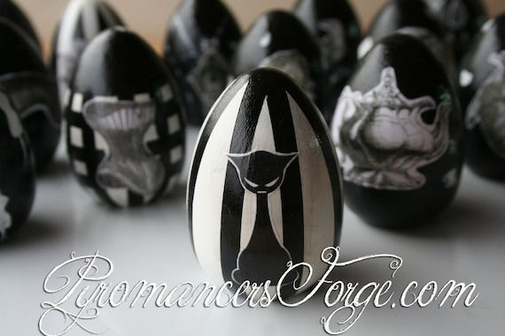 Sinister Cat Gothic Black & White Painted Decorative Egg