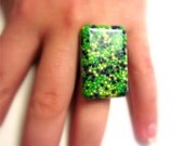 Glow in the Dark Candy Resin Ring Rectangle Neon Green Yellow Indigo