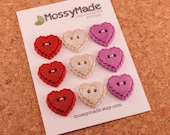 Buttons Scallop Heart Style - Be Mine (sparkle red, pearl & pearly magenta)