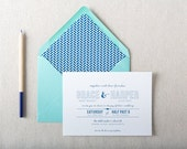 Teal and Navy Wedding Invitation Sample. Affordable Wedding Invites in Blue and Teal. Fun and Fresh Typography Wedding Stationery.