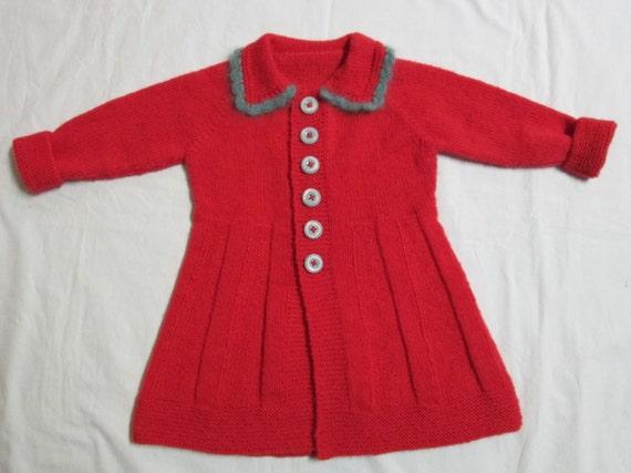 Girls Sweater Coat Hand Knit Crochet Shetland Wool by SwanAvenue