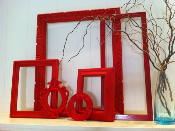 Empty Frames For Wall Decor : Red empty collage frames gallery vintage frame set