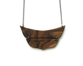 Natural Wood Necklace Geometric Necklace Eco Friendly  Necklace Minimalist Jewelry Made to Order
