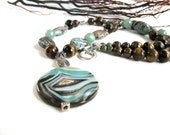 Beaded gemstone necklace,  Amazonite pendant, Imperial Jasper,  Tigereye earthy necklace 048