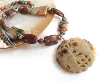 Red necklace, carved Serpentine pendant, Picasso Jasper trapezoids, beaded necklace, Ocean Jasper, gemstones 177