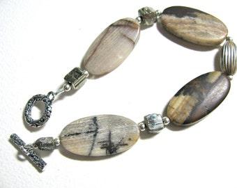 Outback Jasper bracelet, Pyrite nuggets, sterling silver, beaded bracelet, gemstones 489