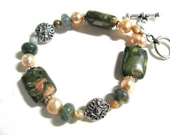 Rhyolite with Fresh Water Pearls, beaded bracelet, gemstones 017