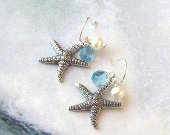Starfish Earrings, Tropical Earrings, Aqua Blue Earrings, Sterling Silver, hooks, swarovski crystal, freshwater pearls, aquamarine, summer