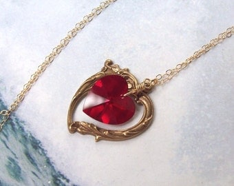 Gold Ruby Necklace, Victorian Heart Necklace, red heart, Swarovski crystal, wire wrapped, fall fashion, ruby heart