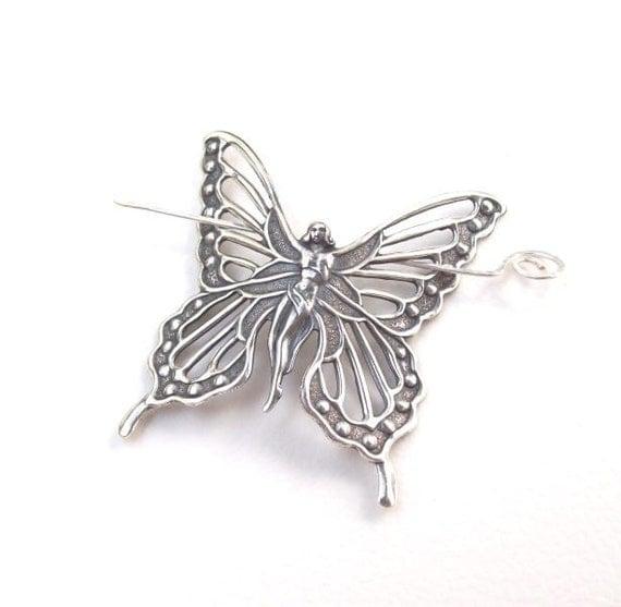 Butterfly Shawl Pin, Faerie Shawl Pin, fairy hair Slide, silver shawl pin, scarf pin,  fashion, silver scarf pin, matte