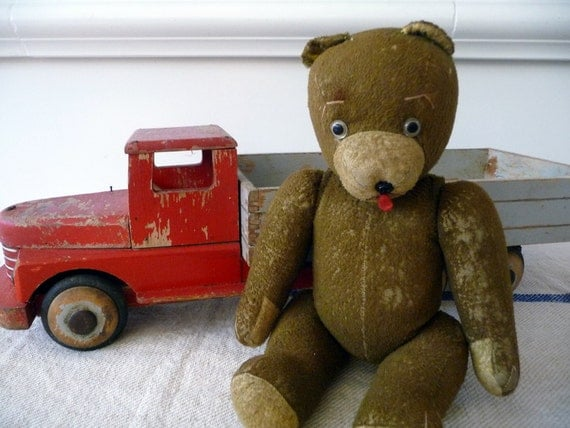 Vintage Teddy Bear European Stuffed Bear Jointed Toy Animal Collectible Bear Cottage Chic