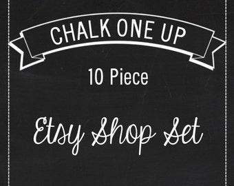 "Etsy Shop Banner Set w/ New Size Cover Photo Chalkboard - Pre-made 11 Piece Set - Blackboard Art ""Chalk One Up"""