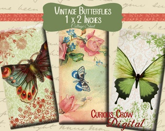 Vintage Butterflies Domino Digital Collage Sheet 1 x 2 inch  (25 x 50 mm) -  INSTANT Printable Download - Jewelry, Scrapbook, Pendants