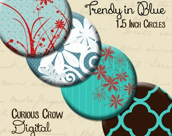 Blue Trendy 1.5 inch (38mm) Circle Rounds Digital Collage Sheet - INSTANT Download - Bottle cap Pendant Jewelry - Printable Download