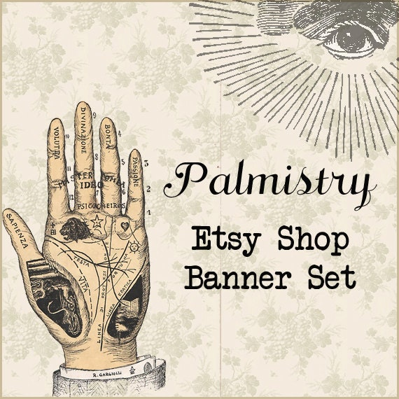 Etsy Shop Banner Set w/ New Size Cover Photo Palmistry  - Pre-made Vintage Palm Reader Design - 6 Piece Set