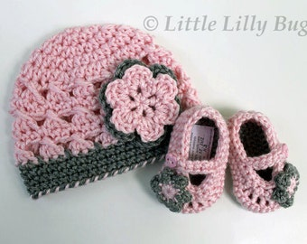 Crochet Baby Hat and Booties Set, Pink and Gray, Baby Hat and Shoes, sizes 0-3 months, 3-6 months, 6-12 months