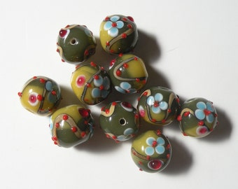 Lampwork Beads (10 Pack) Green with Blue Flowers