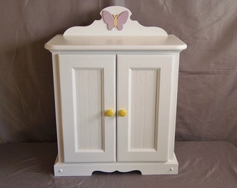 Doll Armoire for American girl doll with wooden Butterfly Applique