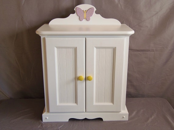 Doll armoire for american girl with wooden butterfly