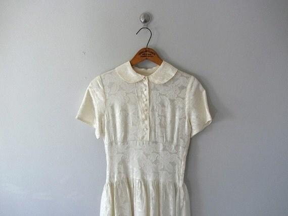 30s 40s Ivory Dress . Vintage Wedding Dress . 1930s 1940s