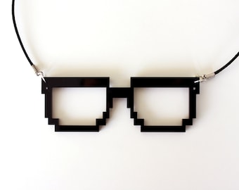 Pixel Nerd Glasses Frame Necklace, Geek Gamer Jewelry, in Black Acrylic