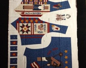VIP Fabric - Vintage Americana Child's Vest Fabric Panel - OOP