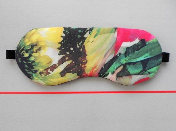 Juicy Tropical Fruit Color Handmade Sleep Eye Mask with Black Satin Lining / Summer Holiday Accessory