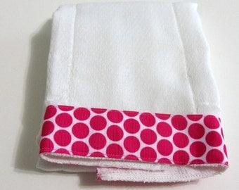 Baby Burp Cloth Pink Dot Trim