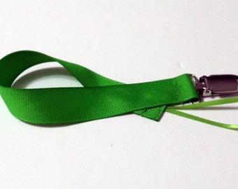 Green Grosgrain  Ribbon Pacifier Clip Pacifier Holder